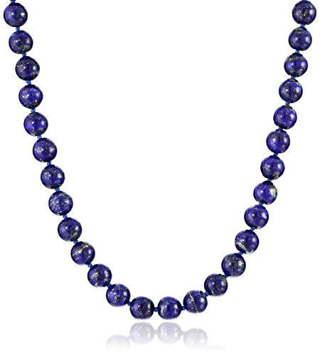 Sterling Silver 8mm Lapis Lazuli Bead Necklace, 24'' by Amazon Collection