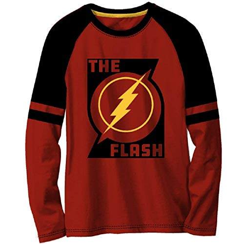 Fashion Top Boys' The Flash Graphic Long Sleeve Graphic Tee (8), Red