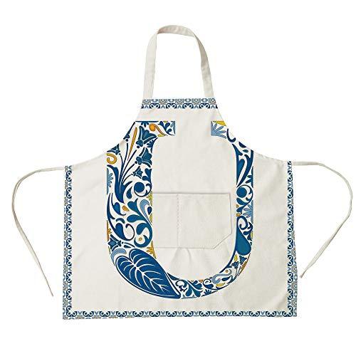 3D Printed Cotton Linen Big Pocket Apron,Letter U,Azulejo Motifs Floral Typography Retro Mosaic Tile Design Graphic Initial Decorative,Blue Yellow Orange,for Cooking Baking Gardening (Azulejos De Toronto)