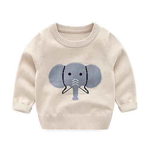 (HUAER& Baby Boys Girls Knit Sweater Unisex Cotton Cartoon Animal Pullover Sweatshirt (3T(Height:35-37 inch), Apricot))