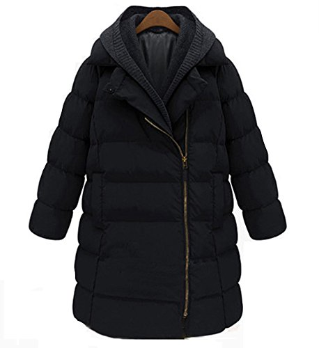 Cosplayjoy Women Winter Warm Thick Mid-Long Coat Overcoat Hooded Down Jacket Outwear Plus Size (Black, 6XL) by Cosplayjoy (Image #4)