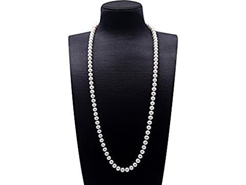 JYX Round 8-9mm White Cultured Freshwater Pearl Necklace Sweater Necklace 35