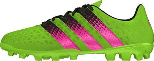 adidas Ace 16.3 AG J, Botas de Fútbol Unisex Infantil, Verde / Rosa / Negro (Versol / Rosimp / Negbas), 38 2/3 EU