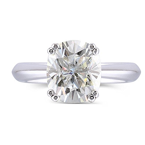 DOVEGGS 10K White Gold 2CTW 7X8mm H Nearly Colorless 2.8mm Band Width Cushion Cut Moissanite Engagement Ring (8)