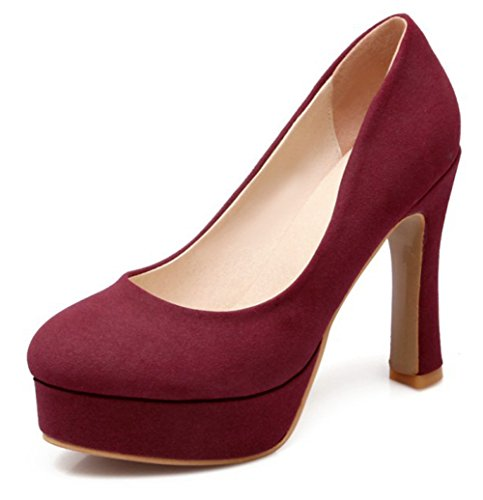 Easemax Womens Elegant Faux Suede Plain Platform Round Toe Low Top High Chunky Heel Pumps Shoes Red 97ZT1whc