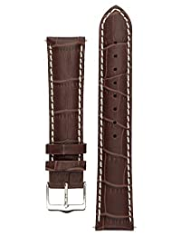 Signature Montana watch band. Replacement watch strap. Genuine Leather. Silver buckle (18 mm, Coffee)