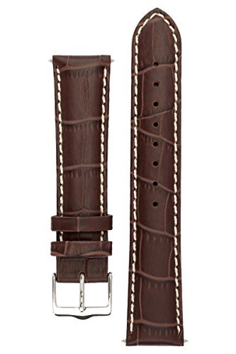 Louisiana Alligator Watch Strap - Signature Montana in coffee 20 mm watch band. Replacement watch strap. Genuine Leather. Silver buckle