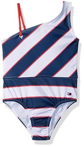 Tommy Hilfiger Big Girls' One-Piece Swimsuit, Flag-Blue, Medium from Tommy Hilfiger