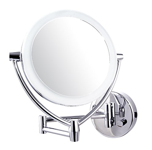 Ovente LED Lighted Wall Mount Makeup Mirror, 7.5 Inch, Battery or USB Adapter Operated, 1x/10x Magnification, Polished Chrome (MLW75CH) Through Any Usb