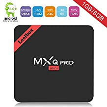 [Prime day] 2017 Newest Model Leelbox MXQ Pro MINI Android TV Box Amlogic S905x android 6.0 Quad-Core CPU 1GB RAM/8GB ROM 64 Bits Quad Core and Supporting Full HD /H.265 /WiFi 2.4GHz
