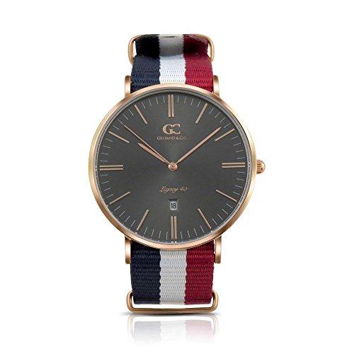 Gelfand & Co. Men's Minimalist Watch Red/White/Blue NATO Harrison 40mm Rose Gold Gray Metallic Dial