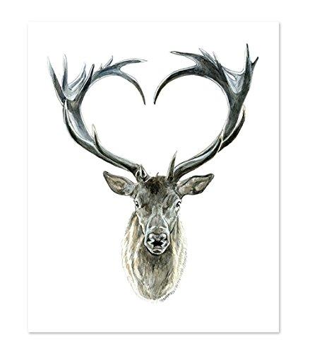 Illustration Portrait - A14 Deer Poster Print - Wild Tribal Boho Forrest Woodland - Wall Art Decor Picture Artwork - Cute Baby Animal Watercolor Painting Portrait Face - Love Men Women (8x10)