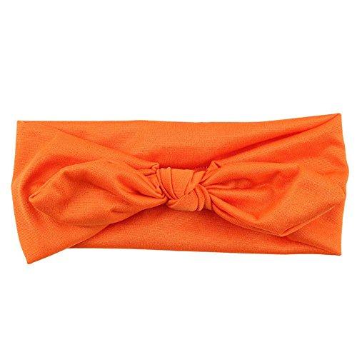 Headbands for Women, Yoga Elastic Bow Hairband Turban Knotted Rabbit Hair Band Hair Accessories (Orange)