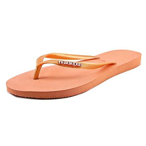 Havaianas Women's Slim Logo Metallic Flip Flops, Light Pink, 39 - Pink Havaianas