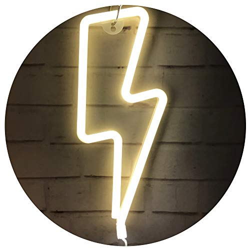 White Lightning Bolt - Lightning Bolt Neon Signs,Creative LED Lightning Decor Light Neon Sign,Wall Decor for Home,Birthday Party,Kids Room, Living Room,Wedding Party Decor (Warm White)