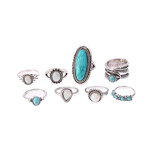 JczR.Y 8 Pcs/Set Vintage Oval Opal Rings for Women Bohemian Natural Turquoise Stone Open Leaf Finger Rings for Women ()