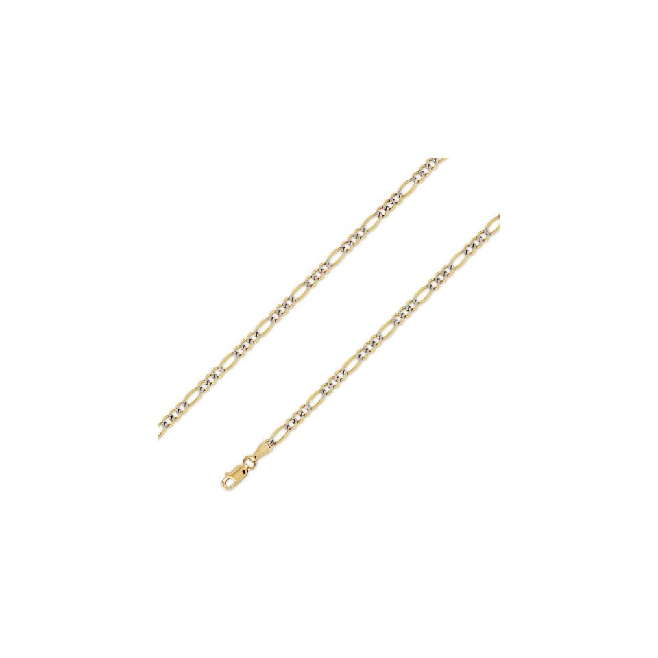 14K Solid Yellow White 2 Two Tone Gold Figaro Chain Necklace 3.2mm (1/8 in.)   20 in.