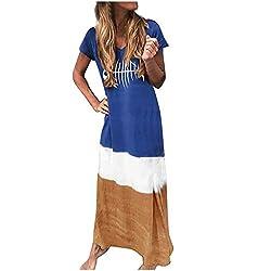Women's Striped Short Sleeve Long Dress