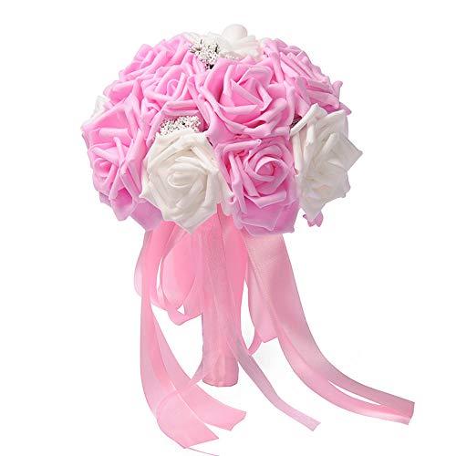 Sagton Crystal Roses Pearl Bridesmaid Wedding Bouquet Bridal Artificial Silk Flowers PKPink