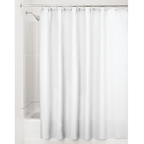 "InterDesign York Waffle Weave Shower Curtain – Mold & Mildew Resistant Hotel Weight Bathroom Curtain, White, 72"" x 84"", Long (White Shower Curtain)"