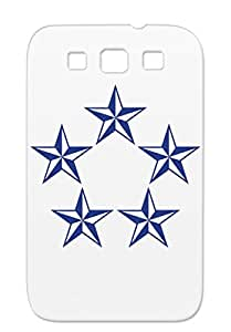 TPU Shapes Symbols Pentagon Nautical 5 Star Navy For Sumsang Galaxy S3 Stars Cover Case
