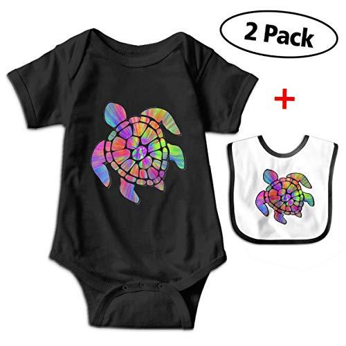 Tie Dye Cool Sea Turtle Newborn Baby Girl Short-Sleeve Cotton Romper Jumpsuit Bodysuit One-Piece