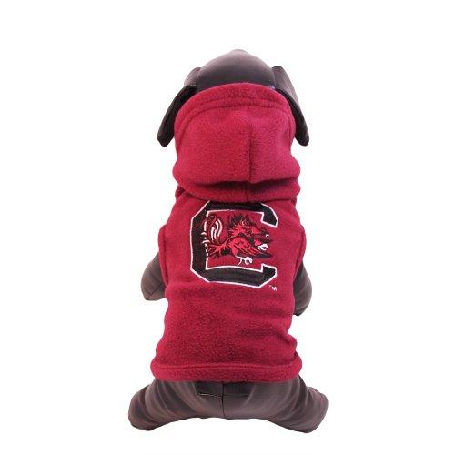 NCAA South Carolina Fighting Gamecocks Polar Fleece Hooded Dog Jacket, Tiny