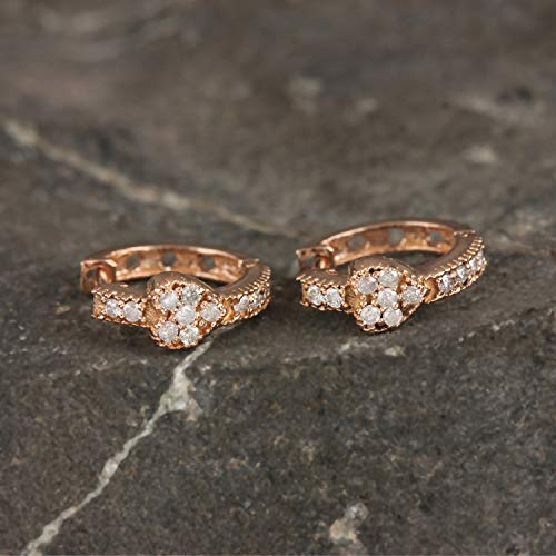 Solid 18k Rose Gold Natural 0.12 Ct. Diamond SI Clarity G Color Heart Hoop Earrings Handmade Jewelry (0.12 Ct Natural)
