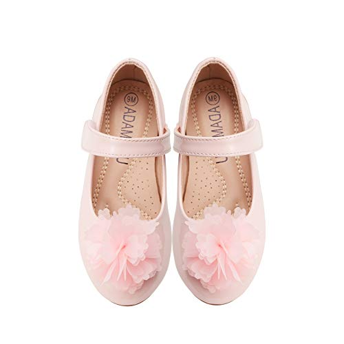 ADAMUMU Toddler Shoes Mary Jane Shoes Dress Girls Flower Crystals Flat for Children in Wedding Party Uniform School Daily Wear,13.5M US Toddler,Pink (Wedding Dress Shoes Flats)