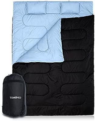 TOMSHOO Saco de Dormir Doble Adulto Acampada, 210 * 152cm Se Convierte en 2 Sacos Individuales, para Todas Las Estaciones, para Camping, Excursiones y ...