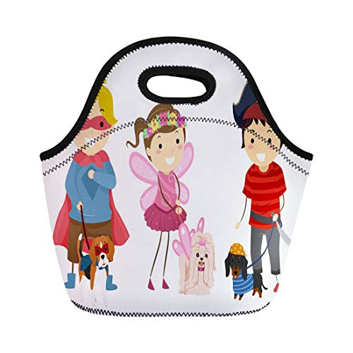 Semtomn Lunch Bags Best of Stickman Kids Wearing Halloween Costume Their Pet Neoprene Lunch Bag Lunchbox Tote Bag Portable Picnic Bag Cooler Bag -