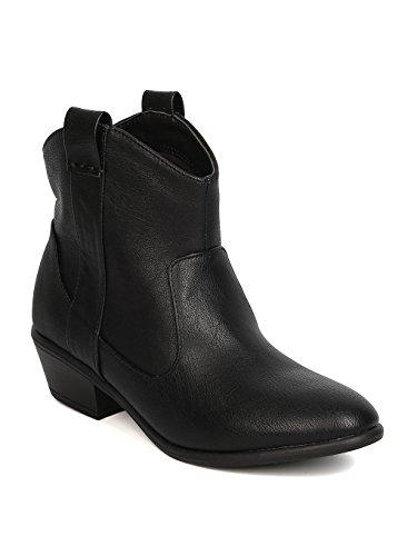 Wild Diva Women Leatherette Stacked Heel Cowboy Bootie GC78 - Black (Size: - High Heel Inch 6.75