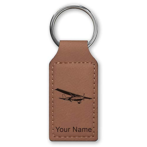 Rectangle Keychain, High Wing Airplane, Personalized Engraving Included (Dark Brown) (High Wing Airplane)