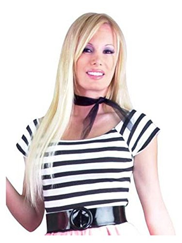 (Charades Women's Plus Size 50's Short Sleeve Top, Black/White)