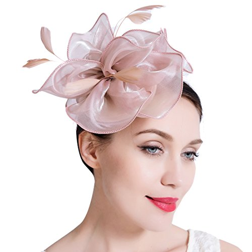 JaosWish Silk Flower Women Fascinators Derby Hat Vintage Feather Hair Clip Cocktail Headwear For Tea Party Wedding (Make Craft Hats)