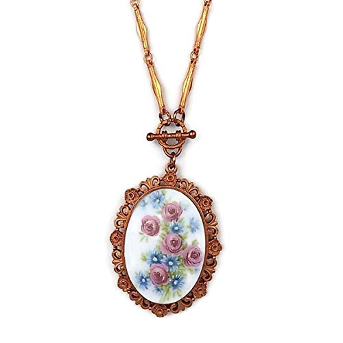 Gingerbread Pewter Rose & Cornflower Porcelain Cameo Necklace on a Copper Chain, Mauve Pink & Blue Flowers ()