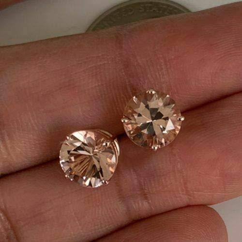 CGJ Girls Morganite Round 4 Prong Fancy Womens Lovely Stud Earring 14k Rose Gold Finish