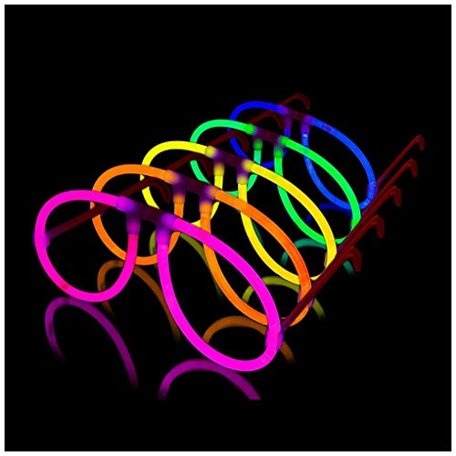 Lumistick Aviator Glow Eyeglasses - Glowstick Pack with Eyeglases Connectors and Bracelet Connectors - Powerful Glowsticks with Tube Packaging - (100, Assorted) ()