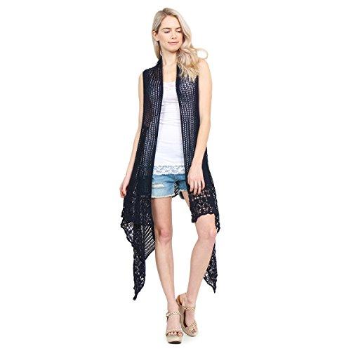Vest Pattern Crochet - MYS Collection Crochet Knit Pattern Long Drape Vest - Beachwear Open Knitted Bathing Swimsuit Bikini Cover up Kaftan Shawl (Navy)