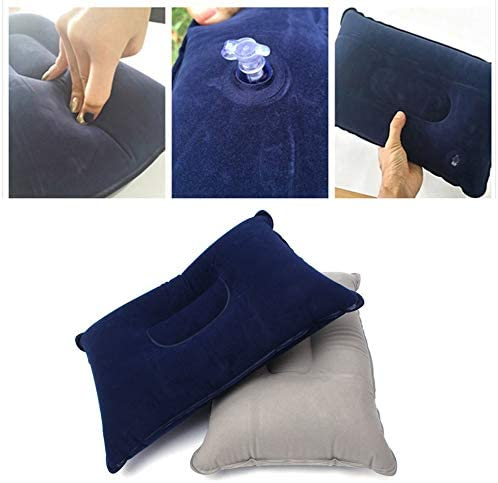 Dark Blue Hnourishy Inflatable Pillow Comfortable Outdoor Travel Camping Home Office Sleeping Self-Inflating Portable Pillow PVC Flocking Fleece