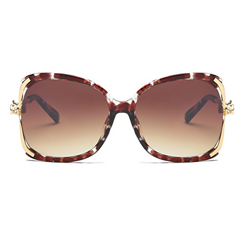 Amomoma Classic Crystal Women Sunglasses UV Protection Oversized Shades AM2001 Crystal Demi Frame/Gradient Brown - Sunglasses Free Shipping Cheap