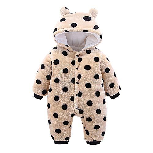 Waymine Baby Girls Boys Romper Cartoon Dot Leopard Plush Hooded Jumpsuit ()