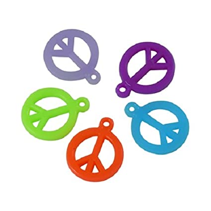 Amazon Acrylic Colorful Peace Sign Charms For Jewelry Making