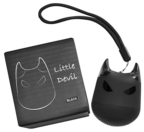 Mini Bluetooth Speaker - Little Devil - Portable, with Multi Function Button for Selfies (Black)