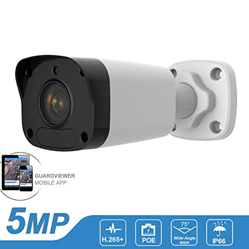 Anpviz 5MP POE IP Bullet Camera Wide Angle 75°Viewing Indoor Outdoor Onvif Compliant Security Camera 98FT IR Night Vision IP66 Weatherproof Video Surveillance Camera IPC-B150