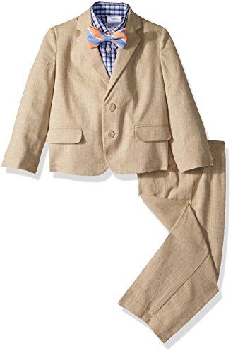 Nautica Toddler Boys' Suit Set with Jacket, Pant, Shirt, and Tie, Light Khaki Linen, 4T/4