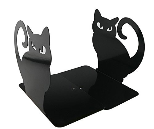 Winterworm Cute Vivid Lovely Persian Cat Nonskid Thickening Iron Library School Office Home Study Metal Bookends Book End Black
