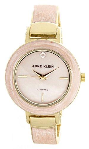 Anne Klein Women's Pink Mother of Pearl Dial Gold Tone Bangle Bracelet Watch AK/2444PKGB ()