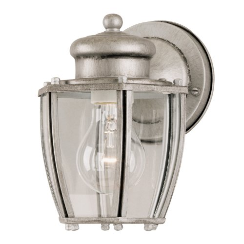 Westinghouse 6468800 One-Light Exterior Wall Lantern, Antique Silver Finish on Steel with Clear Curved Glass Panels (Silver Lantern Antique)