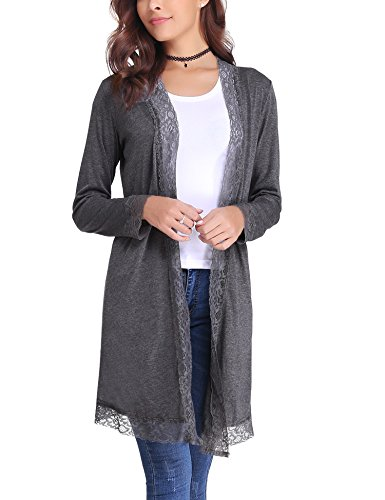 Has Lace Trim - Aibrou Womens Long Sleeve Open Front Lace Trim Lightweight Kimono Cardigan